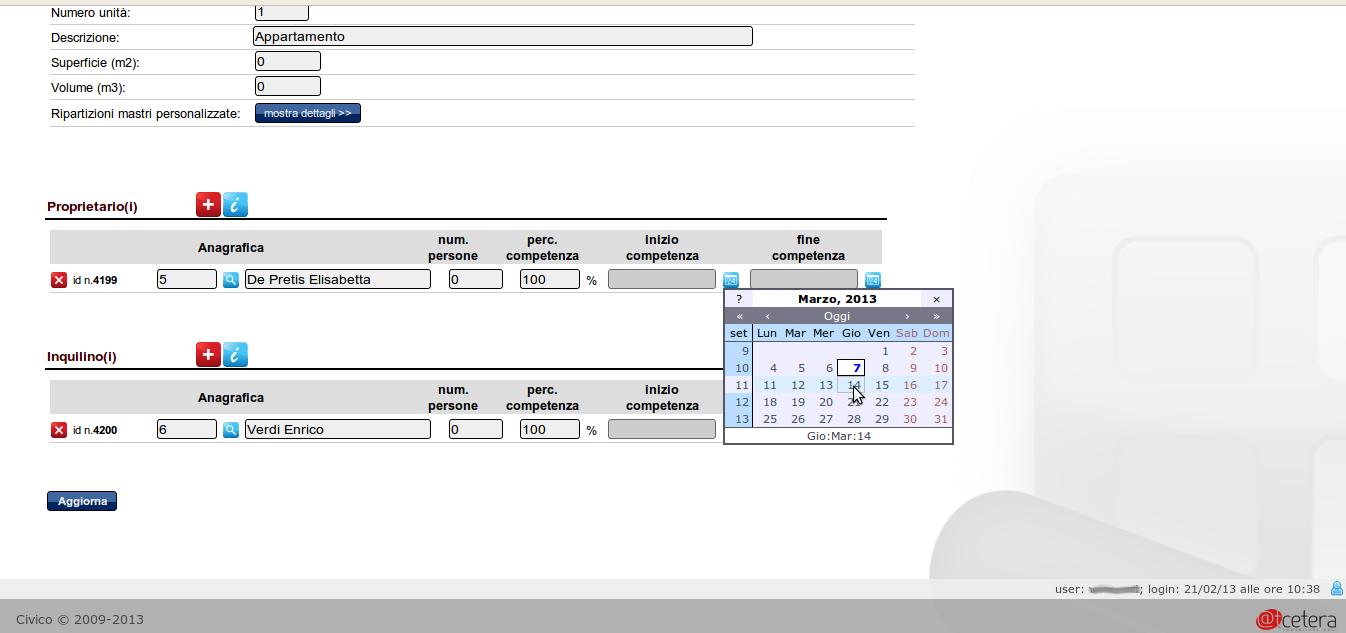 Schermata della gestione periodi di competenza per i subentri in condominio